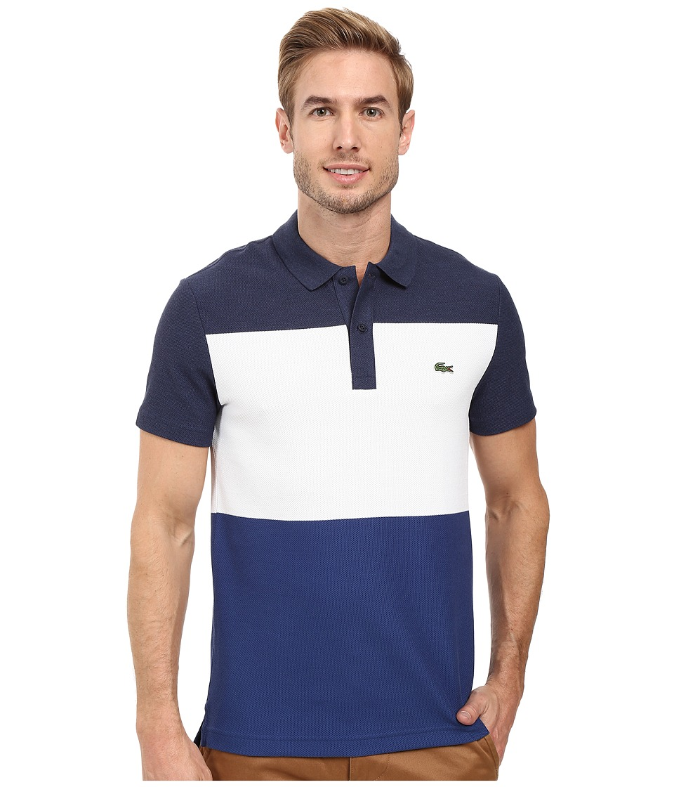 Lacoste - Short Sleeve Color Block Textured Pique Polo (Midnight Blue Chine/White/Waterfall Blue) Men's Clothing