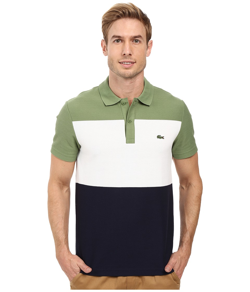 Lacoste - Short Sleeve Color Block Textured Pique Polo (Dill/White/Navy Blue) Men's Clothing