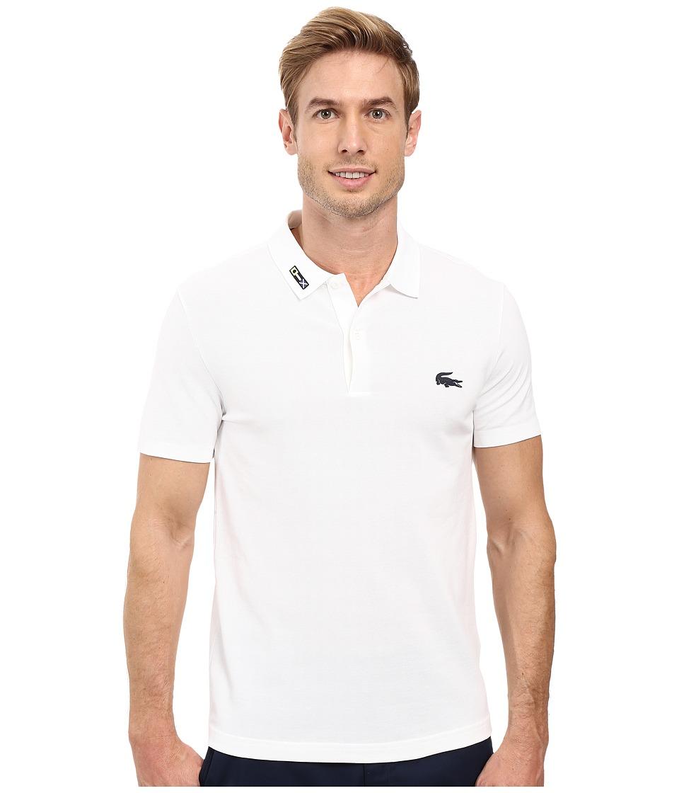 Lacoste - Short Sleeve Clean Seams Pique w/ Rubber Croc (White) Men's Clothing