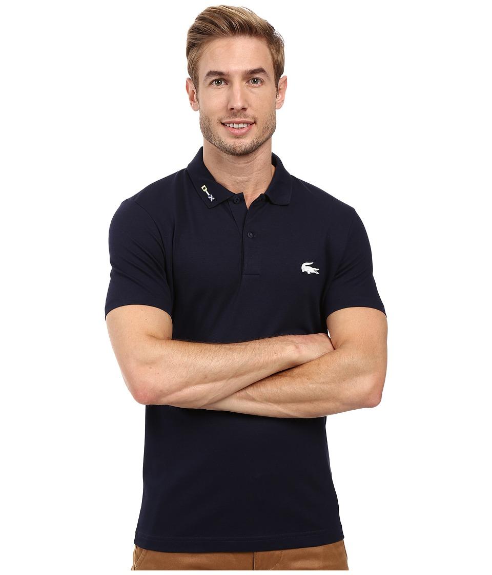 Lacoste - Short Sleeve Clean Seams Pique w/ Rubber Croc (Navy Blue) Men's Clothing