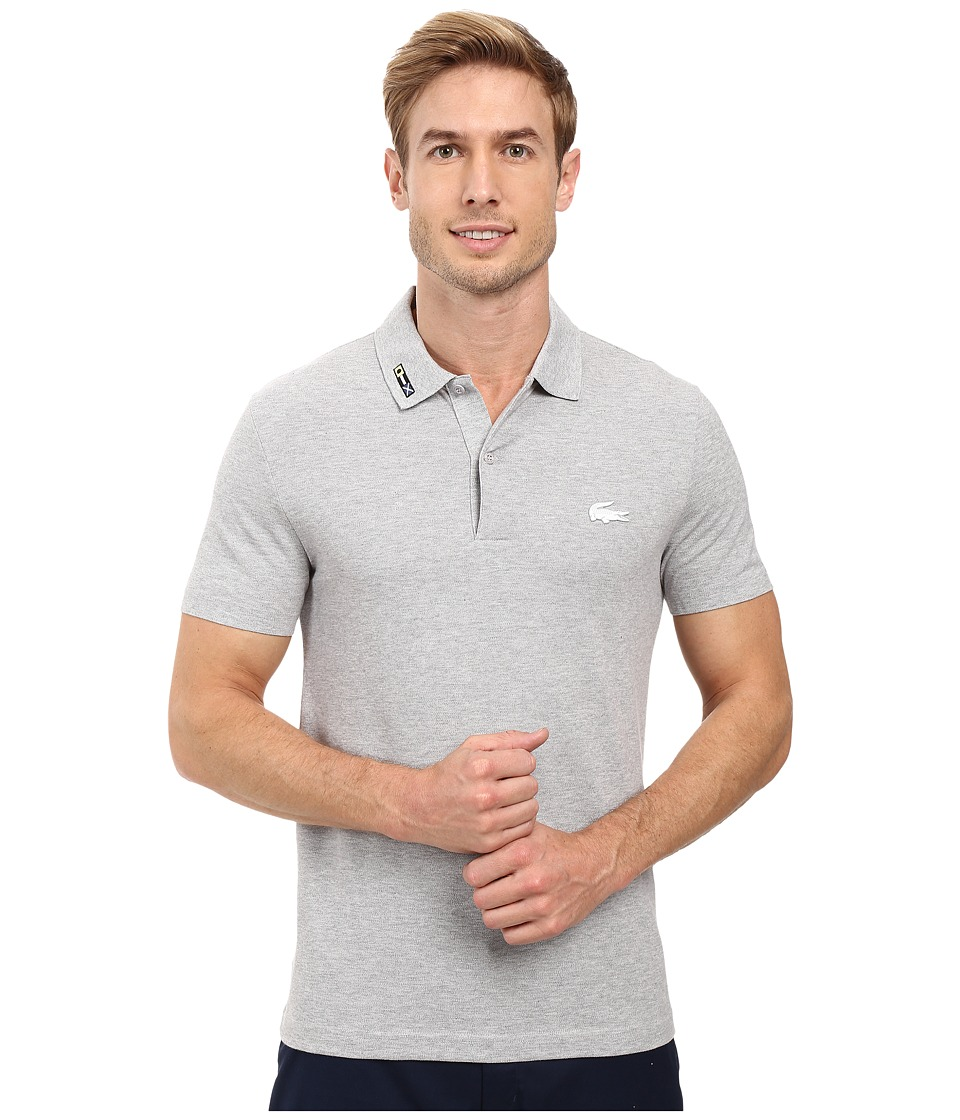 Lacoste - Short Sleeve Clean Seams Pique w/ Rubber Croc (Silver Grey Chine) Men's Clothing