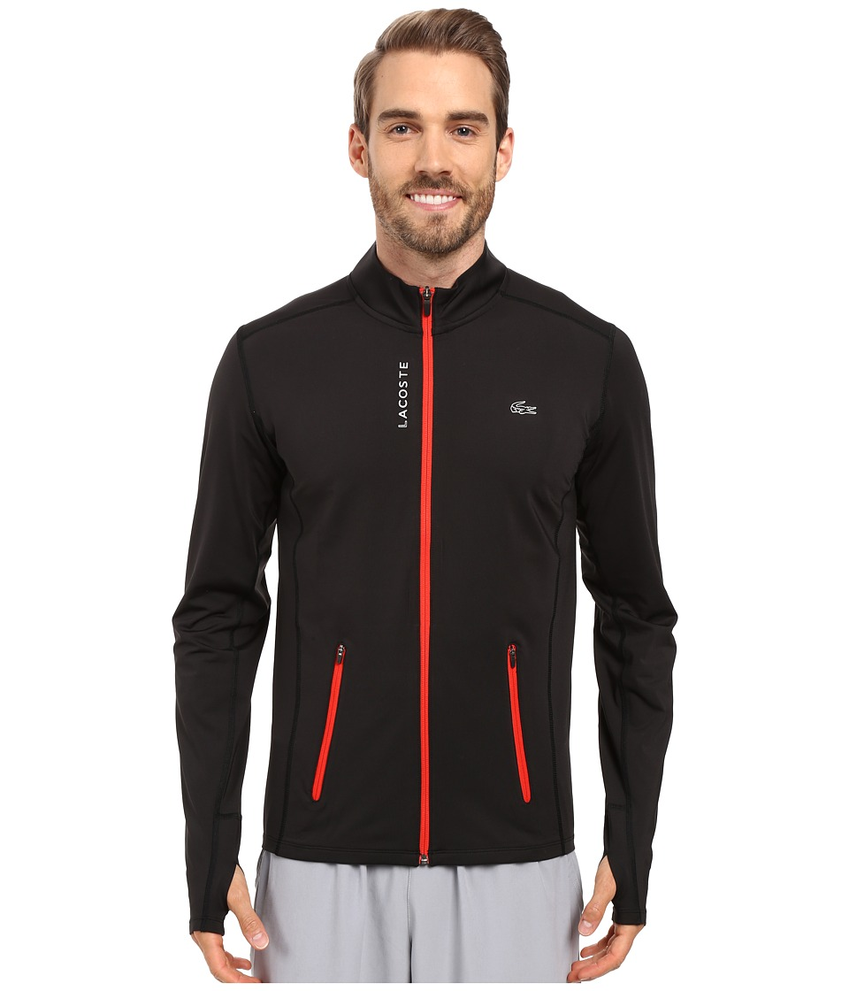 Lacoste - Performance Full Zip Stretch Jersey (Black/Matador Red) Men's Sweatshirt