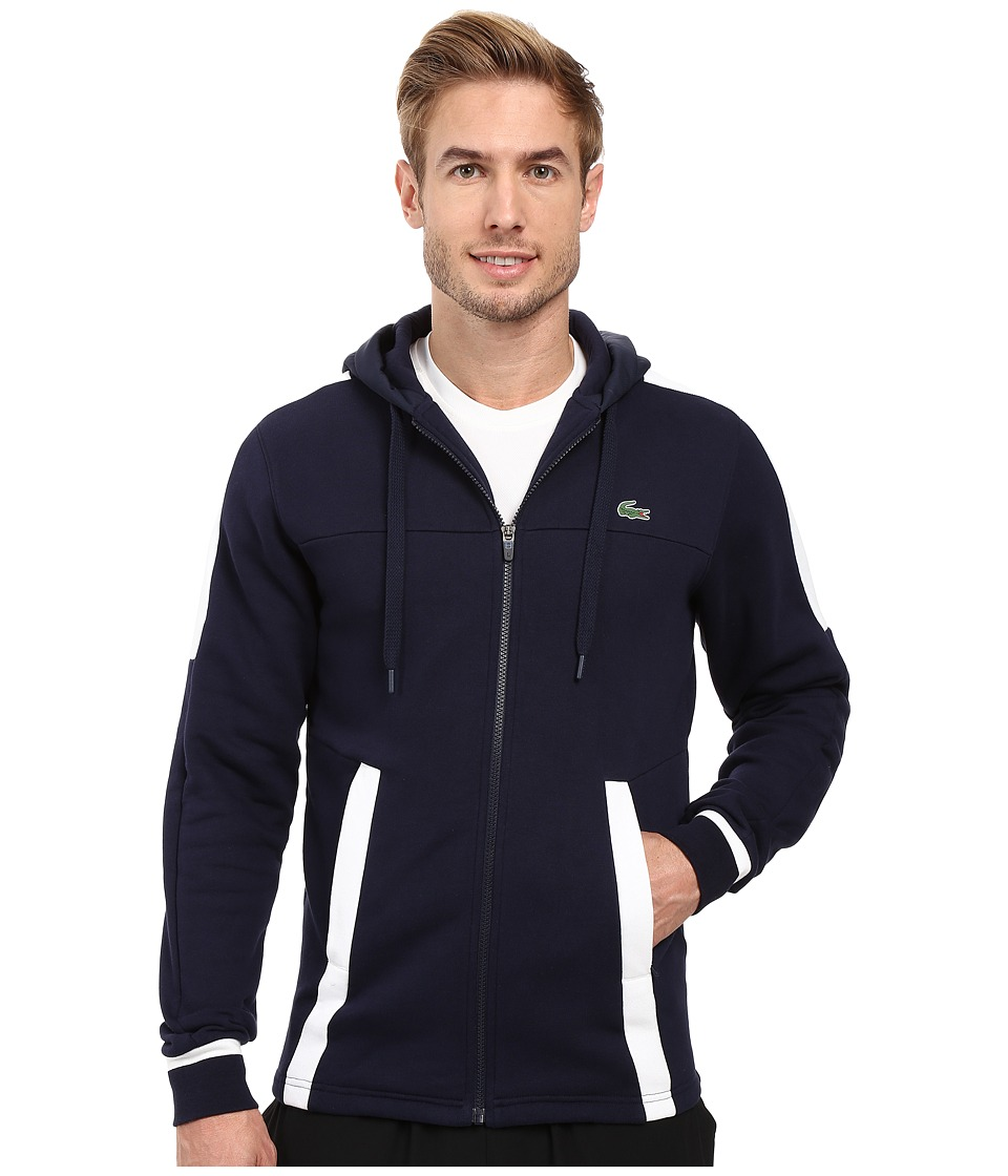 Lacoste - T2 Fleece Color Block Zip Hoodie (Navy Blue/White) Men's Sweatshirt