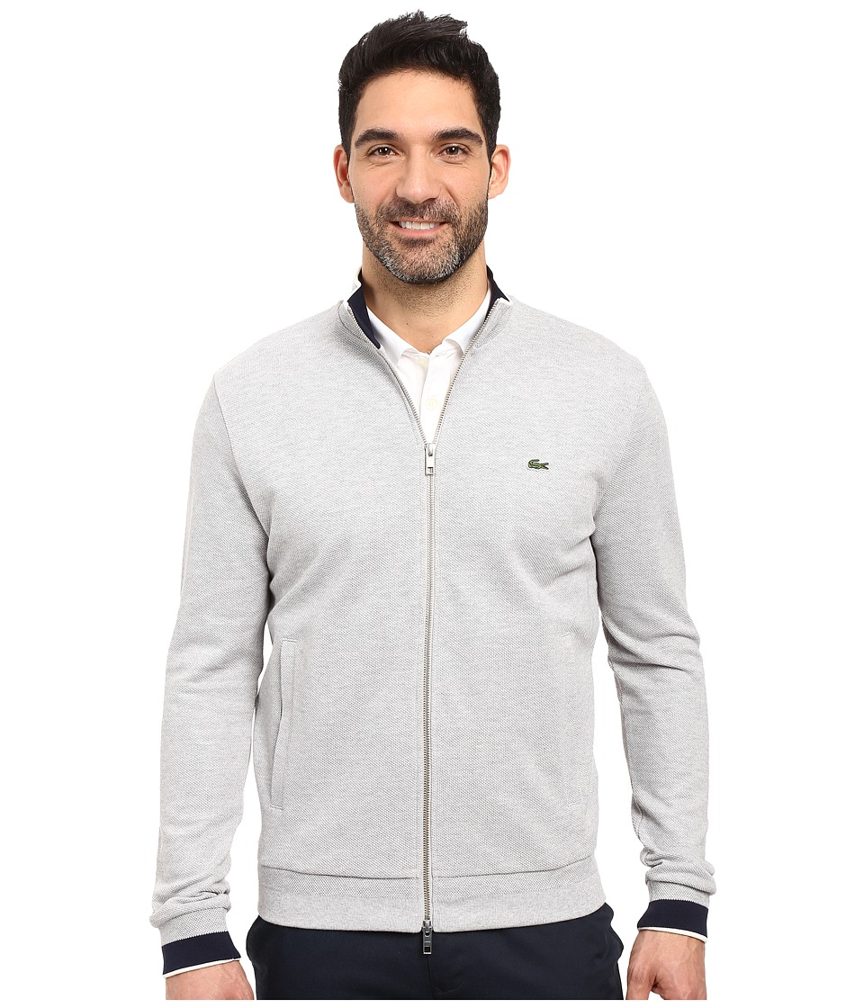 Lacoste - Long Sleeve Semi-Fancy Pique Full Zip (Silver Chine/Navy) Men's Sweatshirt