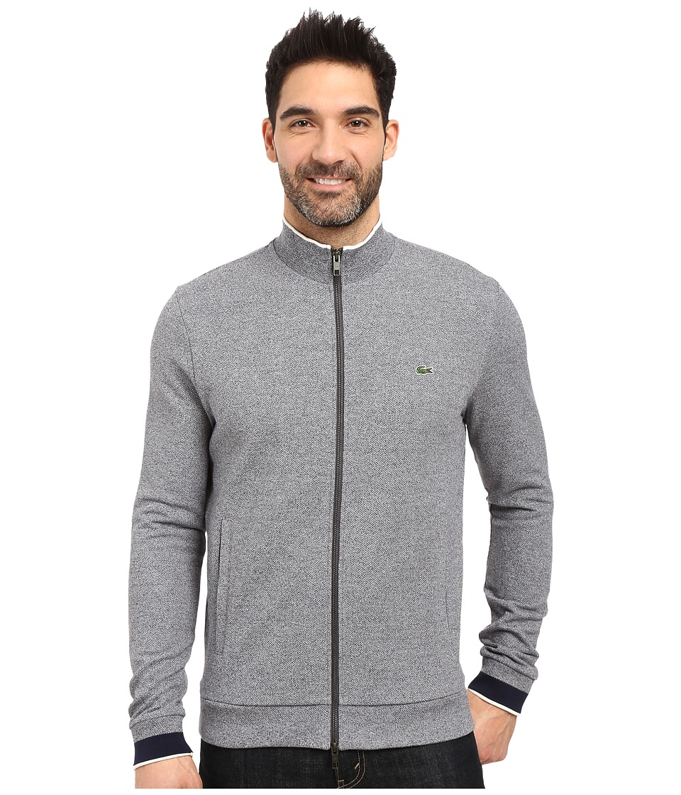 Lacoste - Long Sleeve Semi-Fancy Pique Full Zip (Navy Blue Mouline/Navy Blue/Flour) Men's Sweatshirt