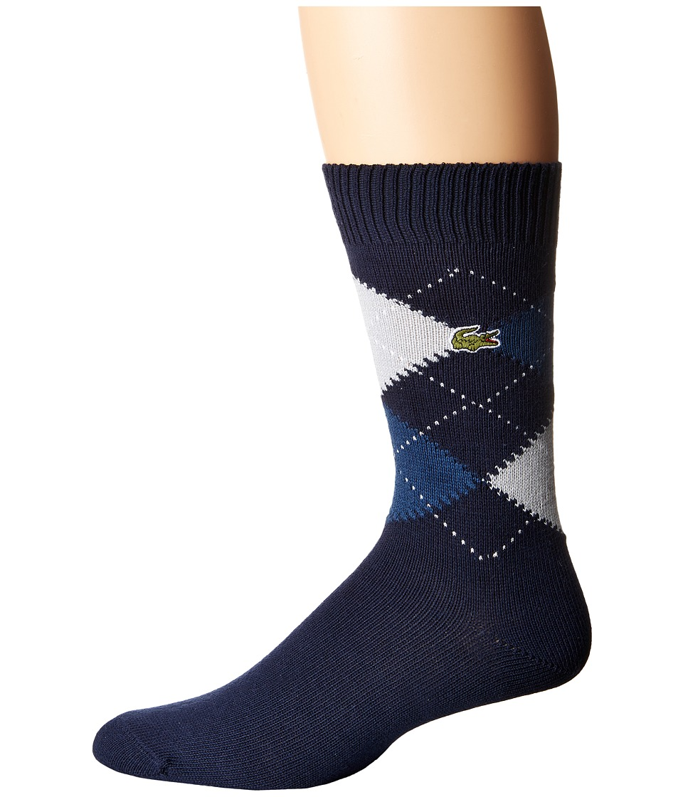 Lacoste - Argyle Sock (Navy Blue/Philippines Blue/Menhir Grey/White) Men's Quarter Length Socks Shoes