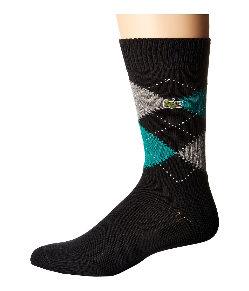 Lacoste - Argyle Sock (Black/Chives/Light Grey Jaspe/White) Men's Quarter Length Socks Shoes