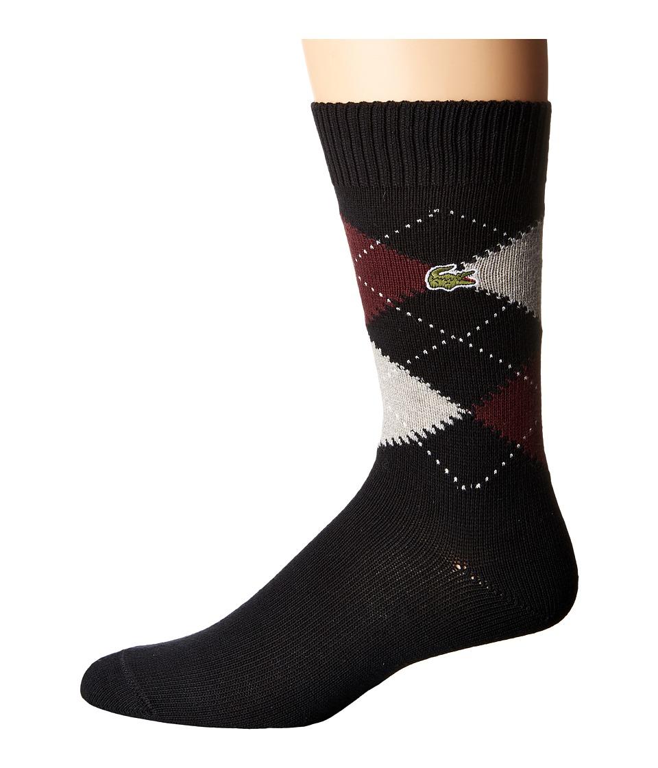 Lacoste - Argyle Sock (Black/Silver Chine/Vendange/White) Men's Quarter Length Socks Shoes