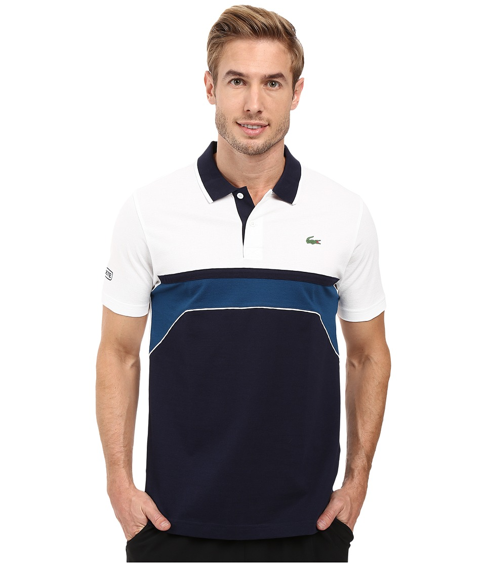 Lacoste - T1 Short Sleeve Superlight Chest Stripe Detail (Navy Blue/White/Yachting Blue) Men's Clothing