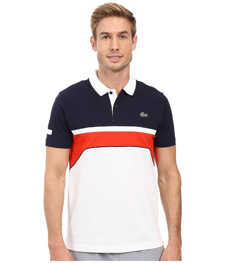 Lacoste - T1 Short Sleeve Superlight Chest Stripe Detail (White/Navy Blue/Corrida) Men's Clothing