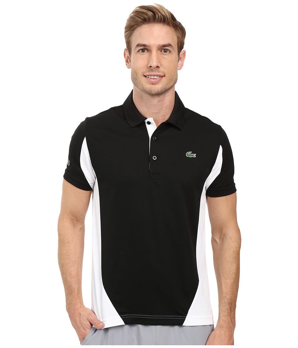 Lacoste - T1 Short Sleeve Ultra Dry Color Block (Black/White) Men's Clothing
