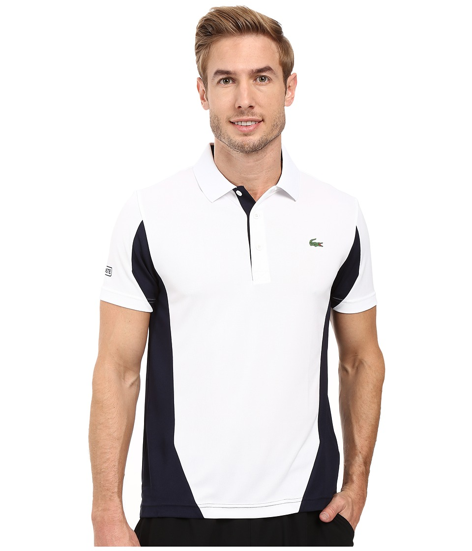 Lacoste - T1 Short Sleeve Ultra Dry Color Block (White/Navy Blue) Men's Clothing