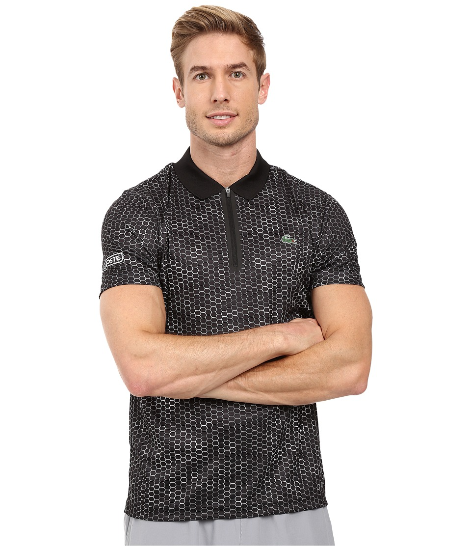 Lacoste - T1 Short Sleeve Printed Ultra Dry w/ Zipper Placket (Black/White/Black) Men's Clothing