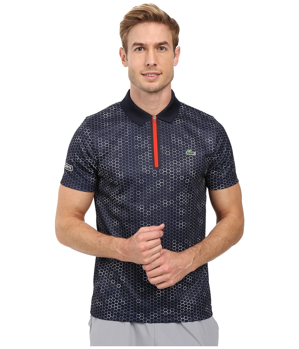 Lacoste - T1 Short Sleeve Printed Ultra Dry w/ Zipper Placket (Navy Blue/White/Corrida) Men's Clothing