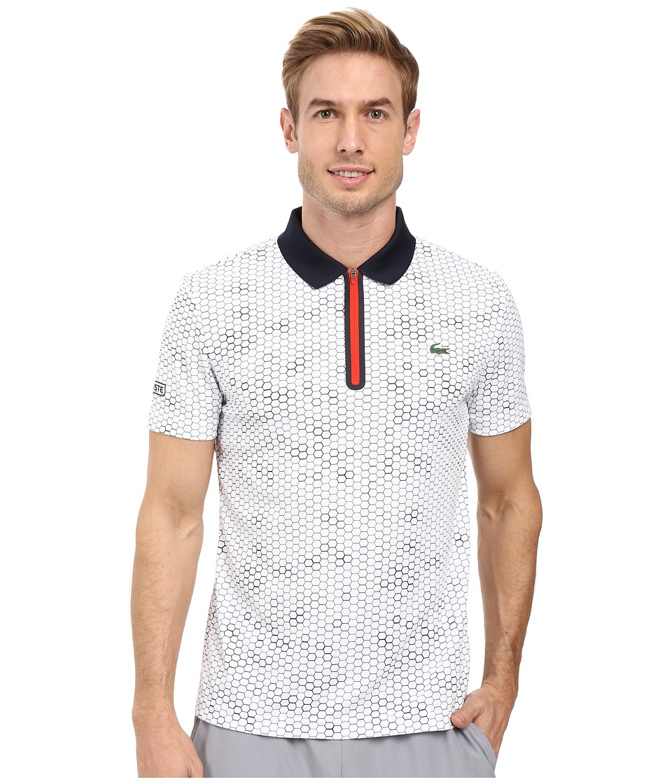 Lacoste - T1 Short Sleeve Printed Ultra Dry w/ Zipper Placket (White/Navy Blue/Corrida) Men's Clothing