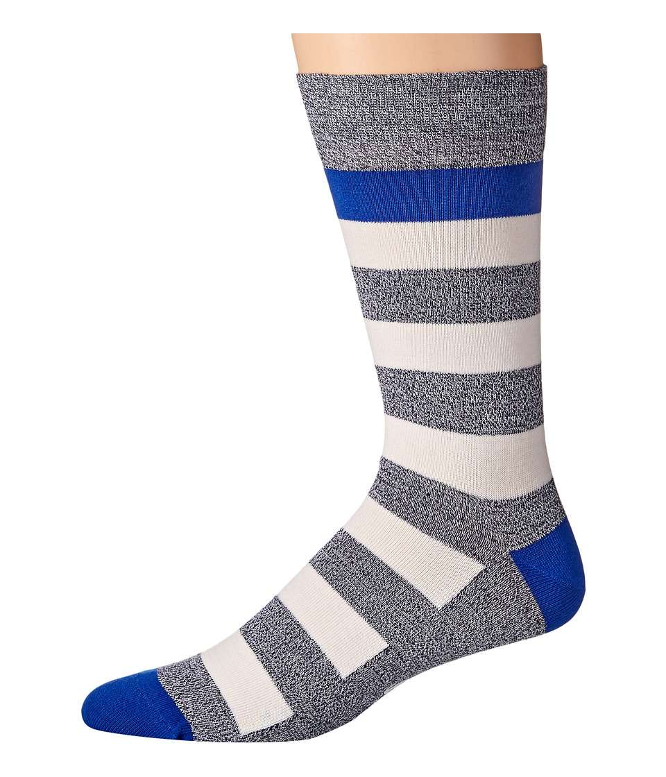 Lacoste - Bold Stripe Sock (Navy Blue Mouline/Flour/Waterfall Blue) Men's Crew Cut Socks Shoes