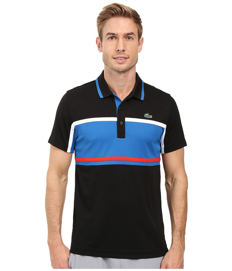 Lacoste - Sport Short Sleeve Ultra Dry Chest Stripe (Black/Ink/White/Corrida) Men's Clothing