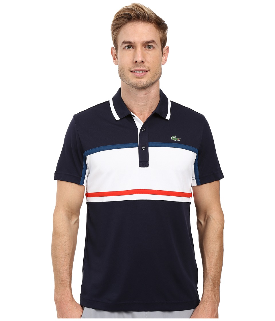Lacoste - Sport Short Sleeve Ultra Dry Chest Stripe (Navy Blue/White/Raffia Matting/Corrida) Men's Clothing