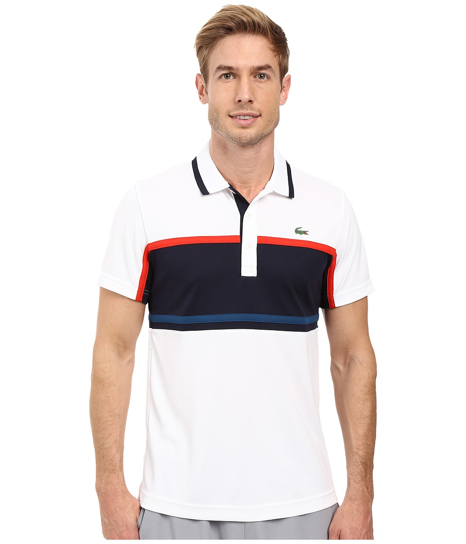 Lacoste - Sport Short Sleeve Ultra Dry Chest Stripe (White/Navy Blue/Corrida/Raffia Matting) Men's Clothing