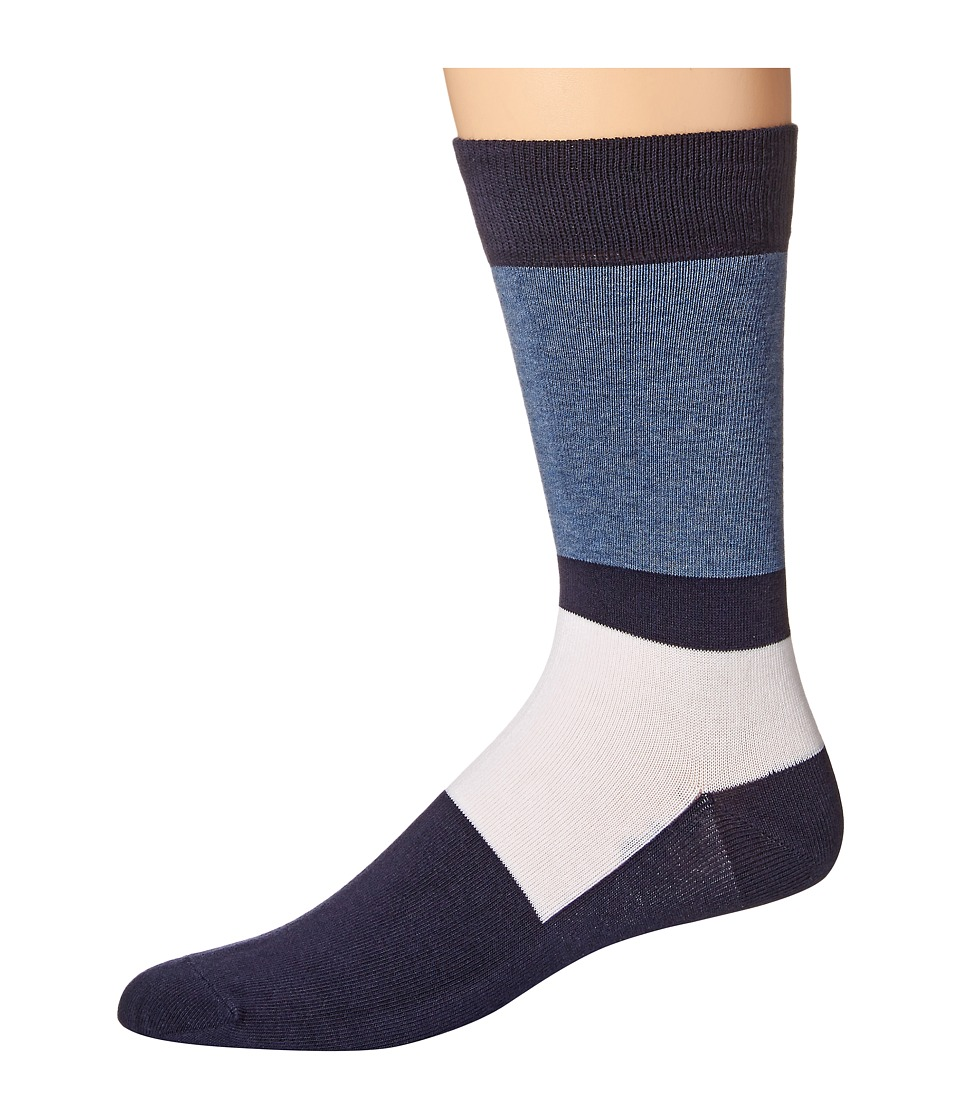 Lacoste - Color Blocked Sock (Navy Blue/Philippines Blue/White) Men's Crew Cut Socks Shoes
