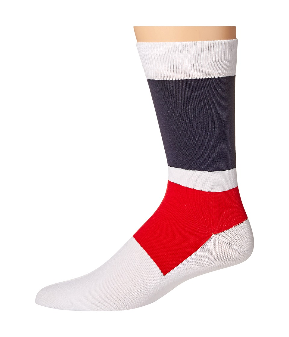 Lacoste - Color Blocked Sock (White/Navy Blue/Cherry Red) Men's Crew Cut Socks Shoes