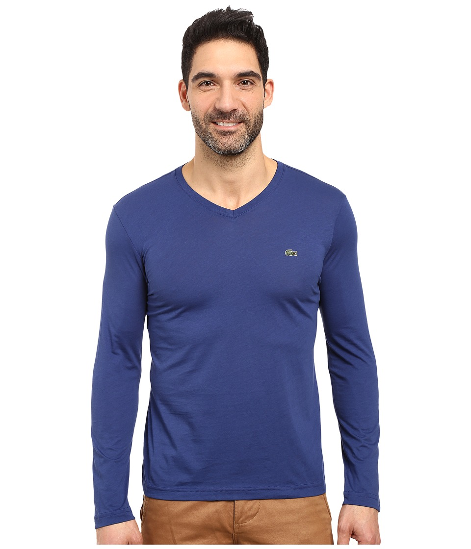 Lacoste - Long Sleeve Pima Jersey V-Neck T-Shirt (Waterfall Blue) Men's T Shirt