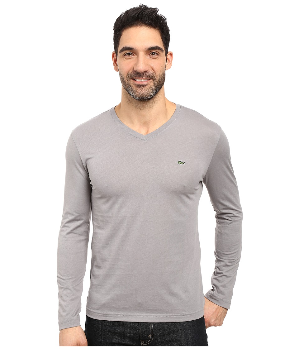 Lacoste - Long Sleeve Pima Jersey V-Neck T-Shirt (Platinum Grey) Men's T Shirt