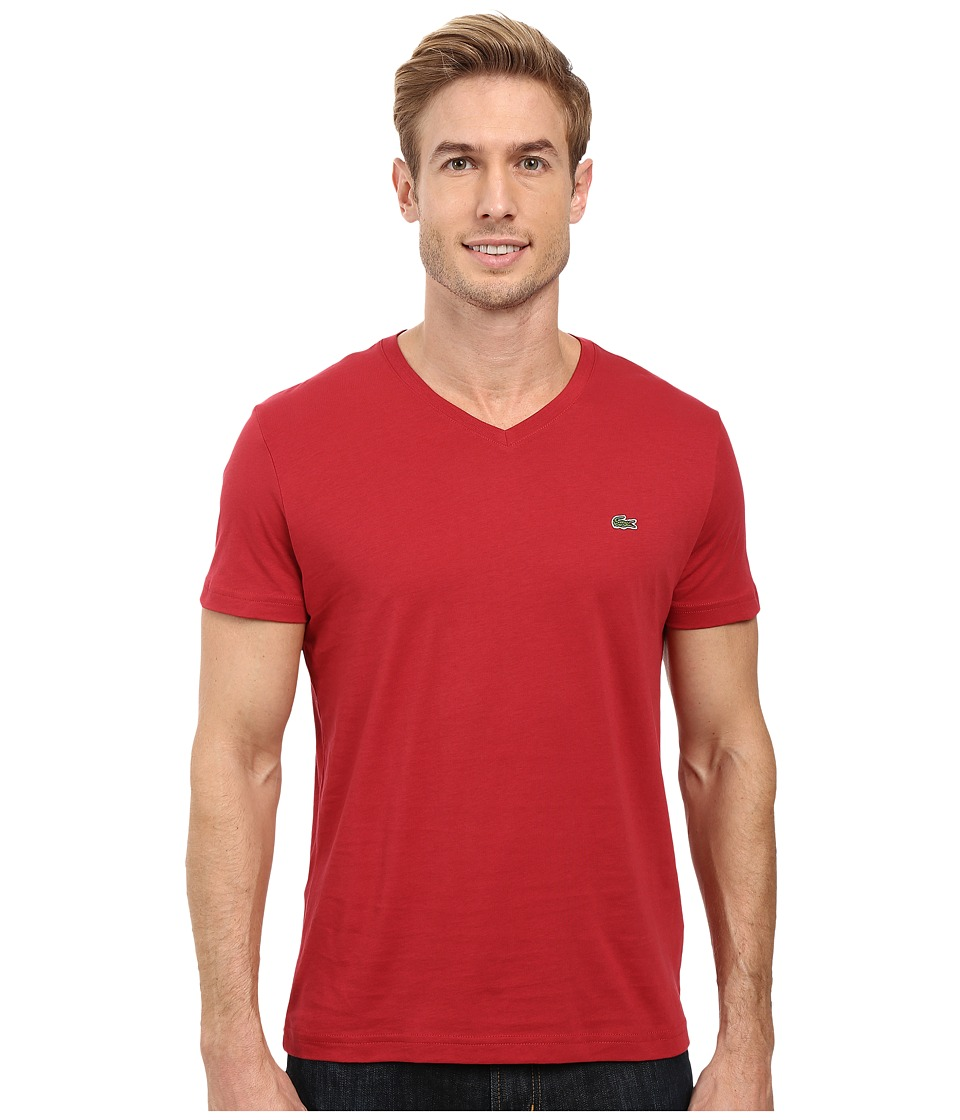 Lacoste - Short Sleeve V-Neck Pima Jersey Tee Shirt (Intense) Men's T Shirt