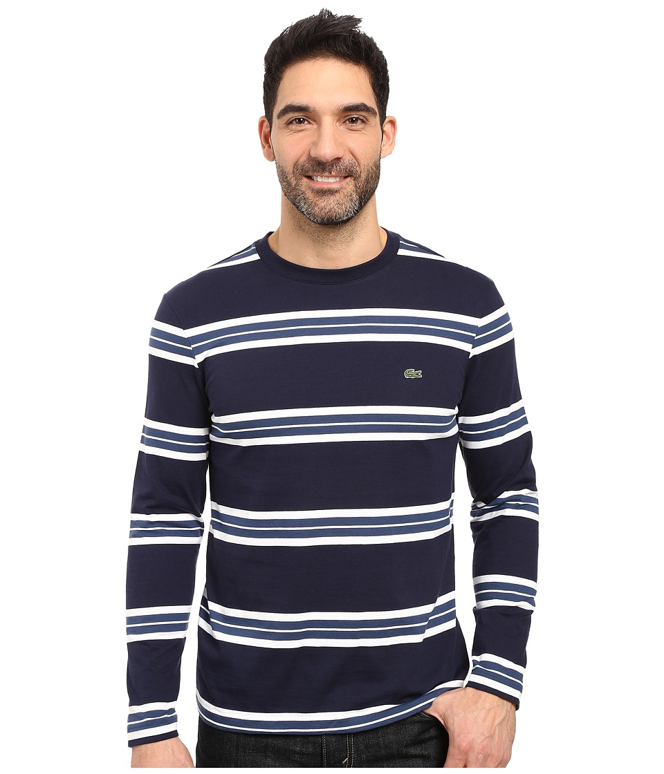 Lacoste - Long Sleeve Crew Neck Stripe Tee (Navy Blue/White/Philippines Blue) Men's T Shirt