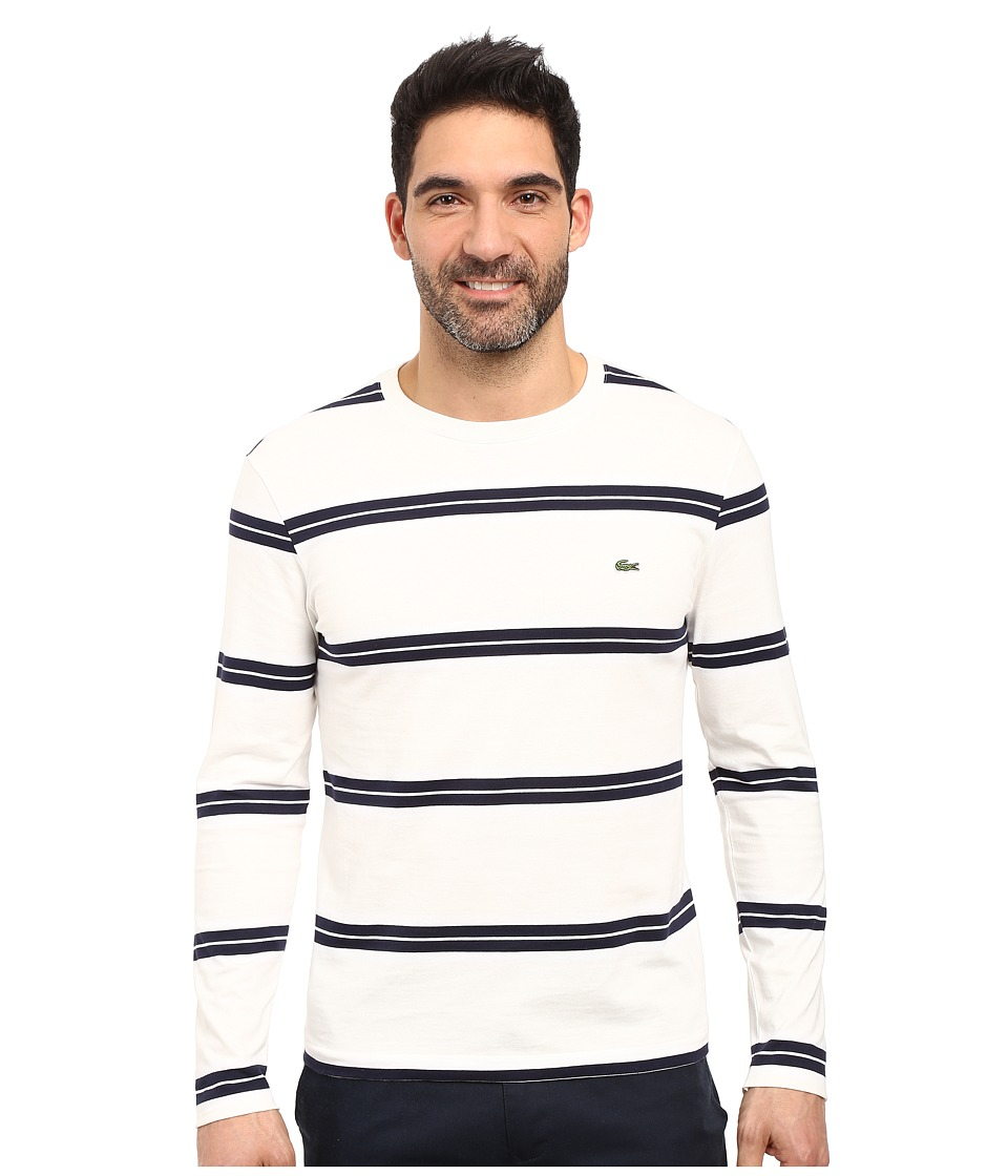 Lacoste - Long Sleeve Crew Neck Stripe Tee (Flour/White/Navy Blue) Men's T Shirt
