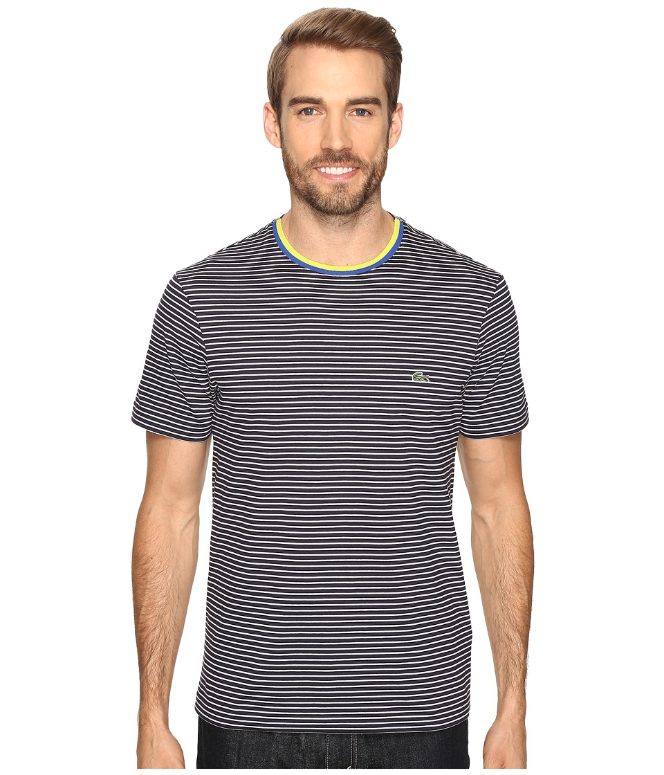 Lacoste - Short Sleeve Resort Stripe Tee (Cosmos/Flour) Men's T Shirt