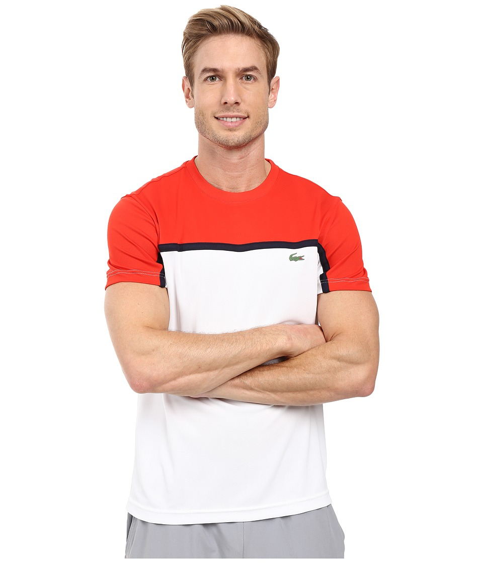 Lacoste - Sport Short Sleeve Ultra Dry Color Block (Corrida/White/Navy Blue) Men's T Shirt