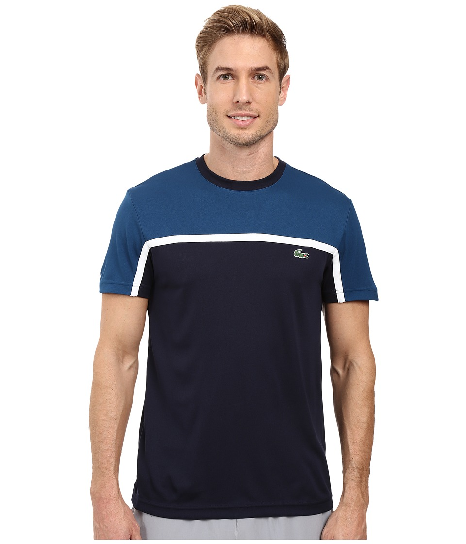 Lacoste - Sport Short Sleeve Ultra Dry Color Block (Yachting Blue/Navy Blue/White) Men's T Shirt