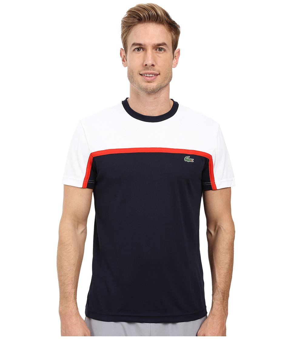 Lacoste - Sport Short Sleeve Ultra Dry Color Block (White/Navy Blue/Corrida) Men's T Shirt