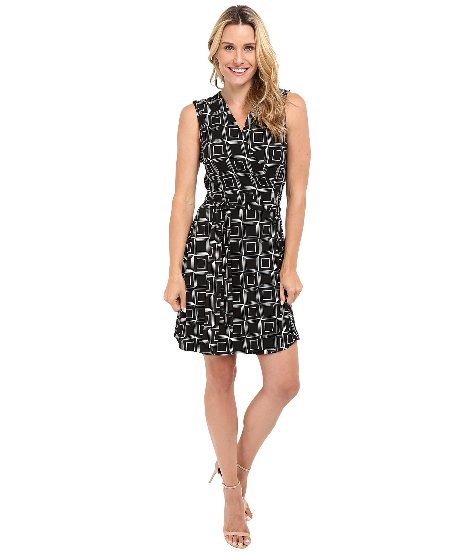 Vince Camuto - Sleeveless Echo Boxes Wrap Dress (Rich Black) Women's Dress