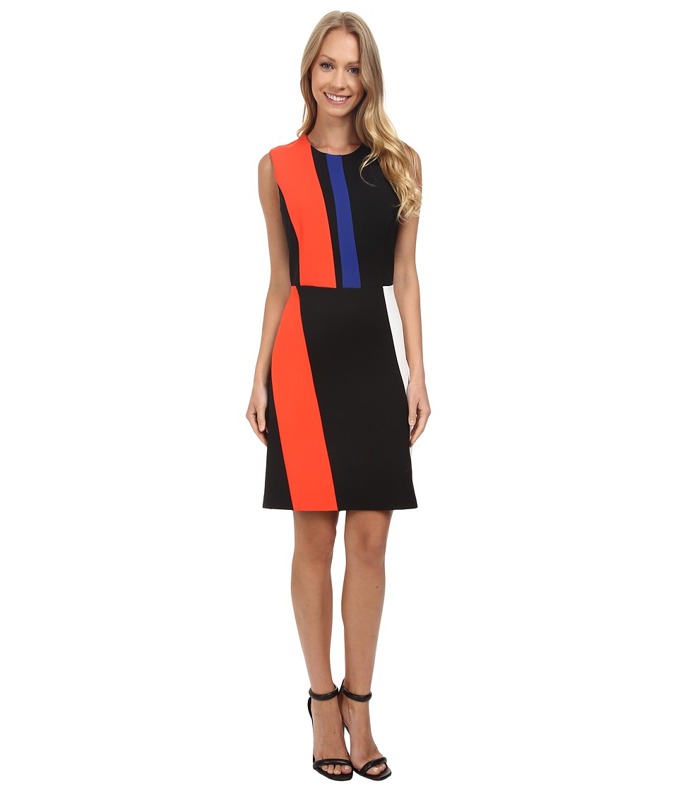 Vince Camuto - Sleeveless Color Block Dress (Vivid Flame) Women's Dress