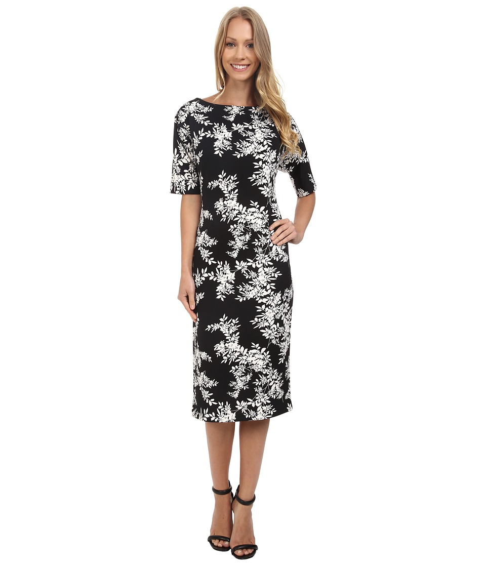 Vince Camuto - Short Sleeve Delicate Foliage Scuba Midi Dress (Rich Black) Women's Dress