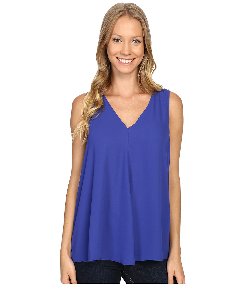 Vince Camuto - Sleeveless V-Neck Drape Front Blouse (Optic Blue) Women's Blouse