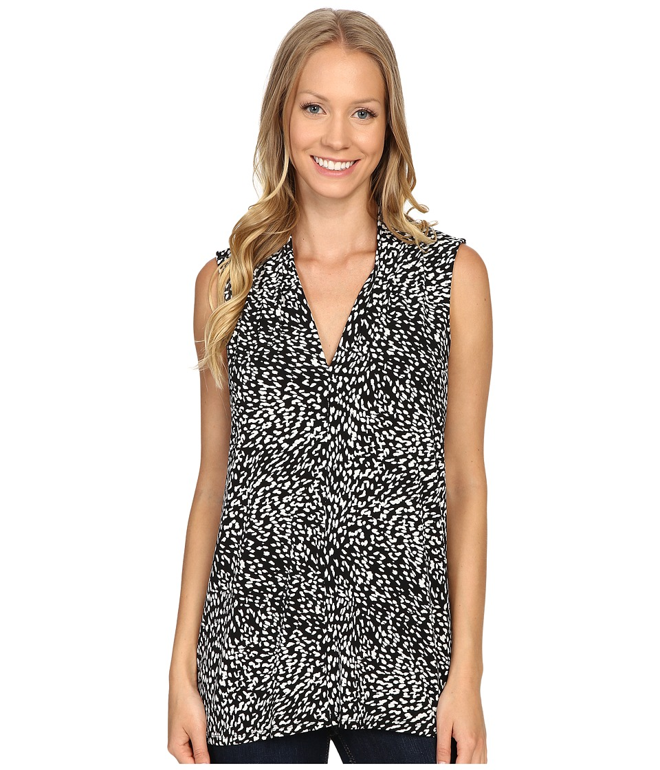 Vince Camuto - Sleeveless Animal Swirl V-Neck Top (Rich Black) Women's Clothing