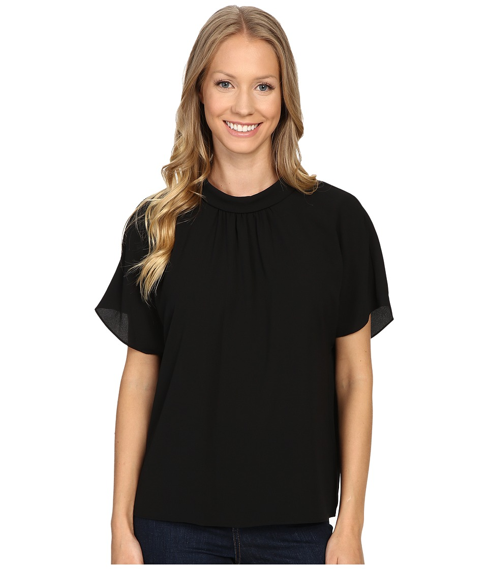 Vince Camuto - Short Sleeve Shirred Mock Neck Blouse (Rich Black) Women's Blouse
