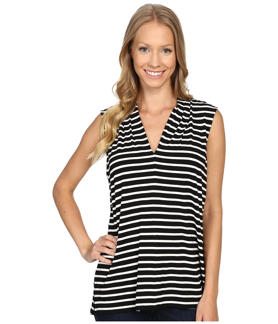 Vince Camuto - Sleeveless Stripe Pulse V-Neck Top (Rich Black) Women's Clothing
