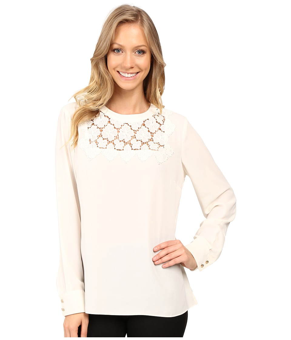 Vince Camuto - Long Sleeve Blouse with Embroidered Lace Yoke (Antique White) Women's Blouse
