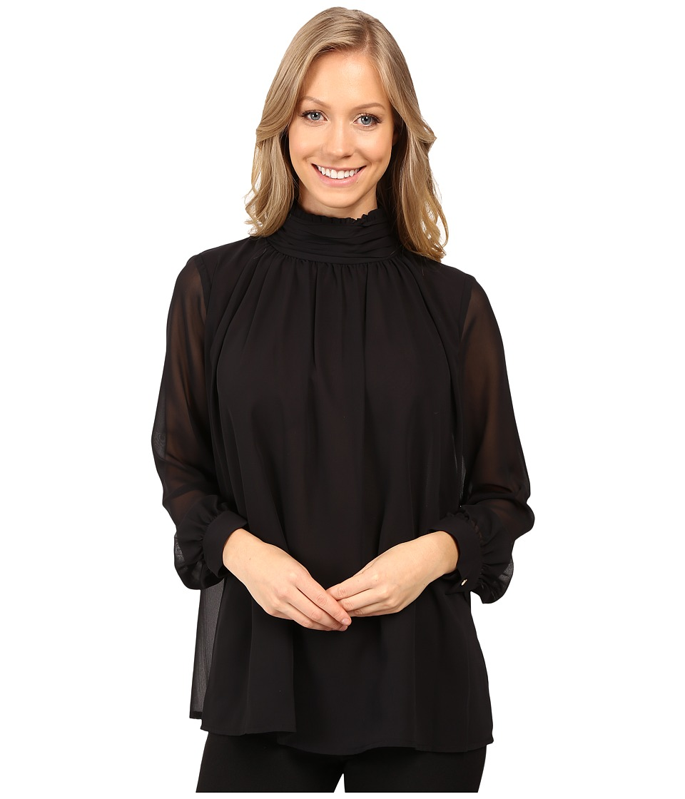 Vince Camuto - Long Sleeve Ruffle Neck Blouse (Rich Black) Women's Blouse