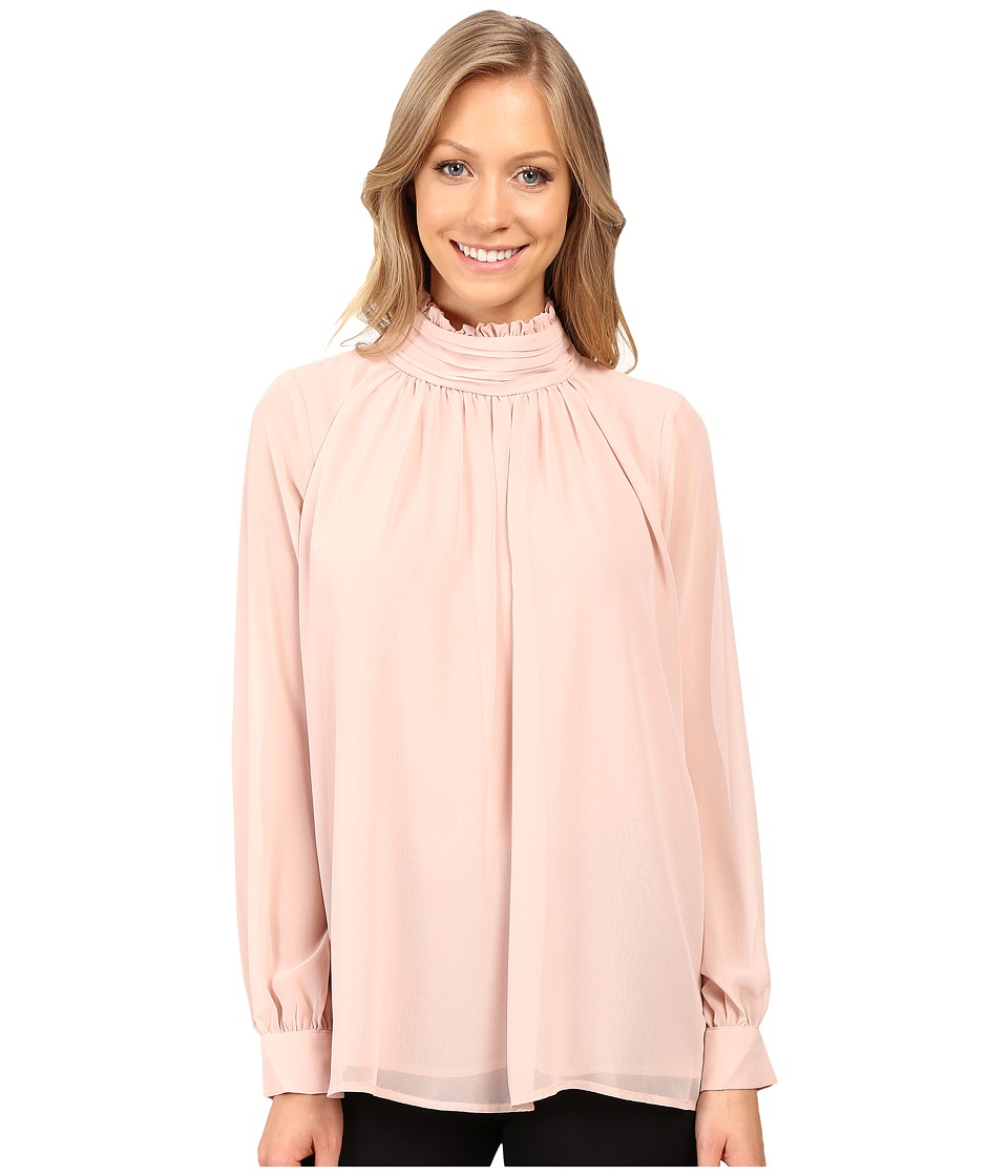 Vince Camuto - Long Sleeve Ruffle Neck Blouse (Rosy Flush) Women's Blouse