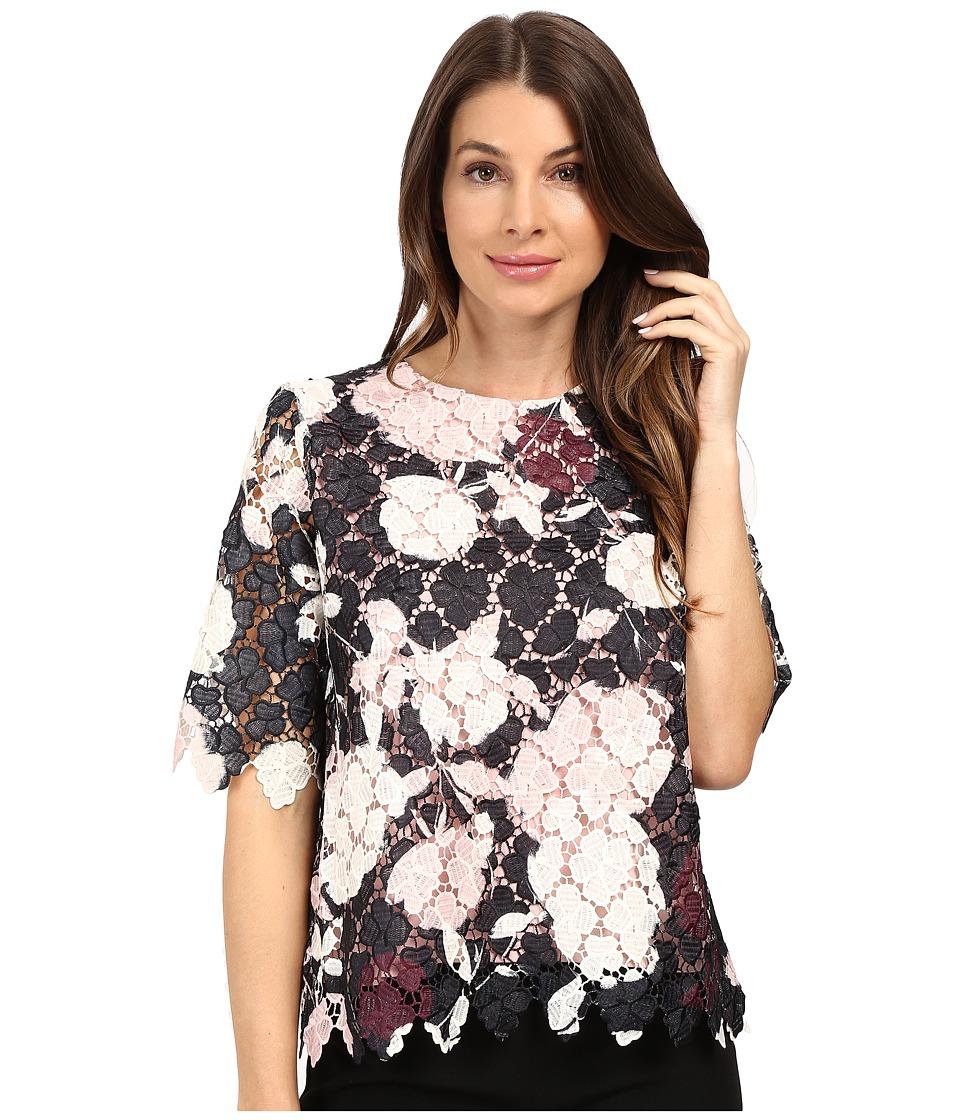 Vince Camuto - Elbow Sleeve Chapel Rose Printed Lace Top (Rosy Flush) Women's Clothing