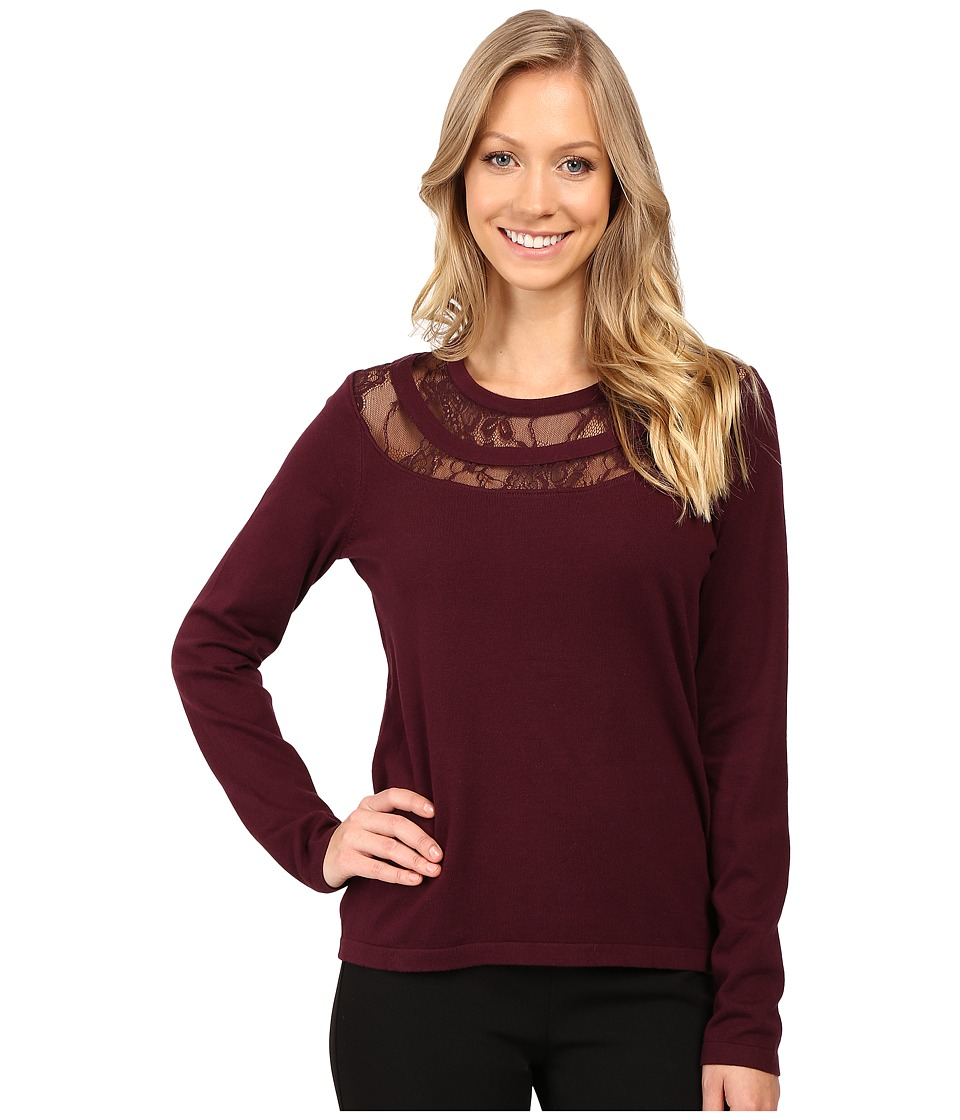 Vince Camuto - Long Sleeve Lace Yoke Sweater (Raisin) Women's Sweater