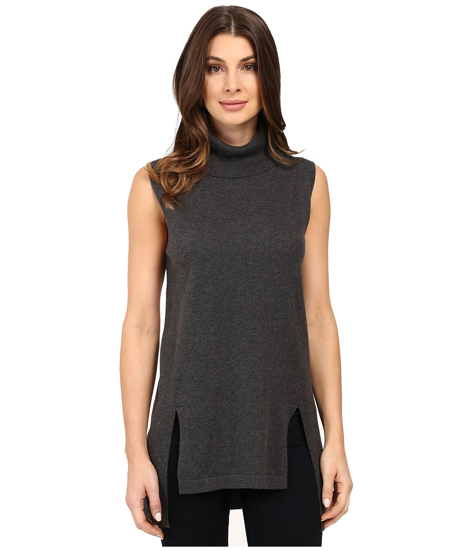 Vince Camuto - Sleeveless Turtleneck Sweater with Front Slits (Medium Heather Grey) Women's Sweater