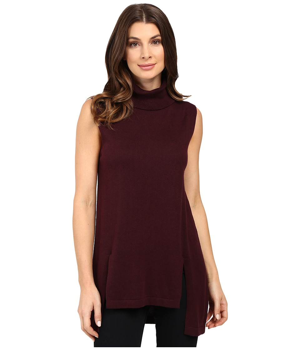 Vince Camuto - Sleeveless Turtleneck Sweater with Front Slits (Raisin) Women's Sweater