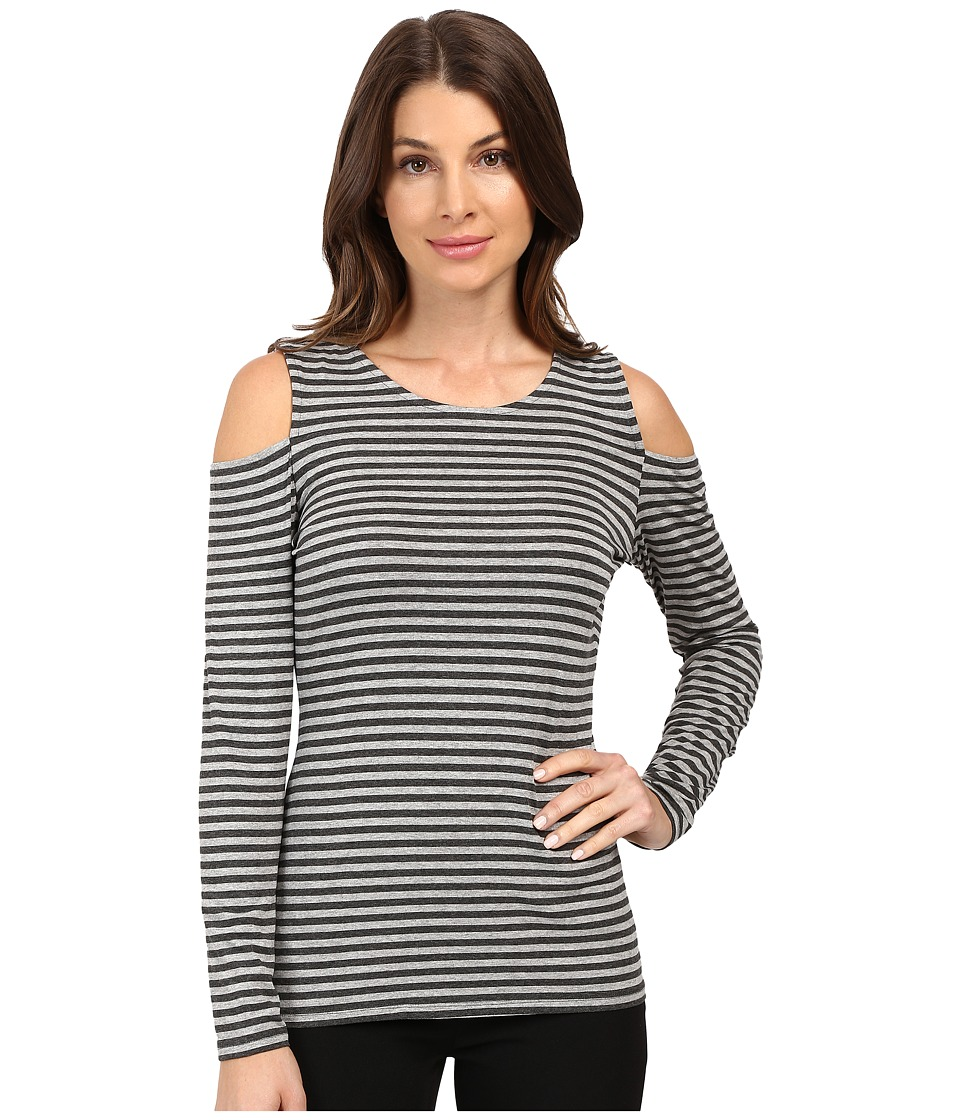Vince Camuto - Long Sleeve Parlour Stripe Cold-Shoulder Top (Light Heather Grey) Women's Clothing