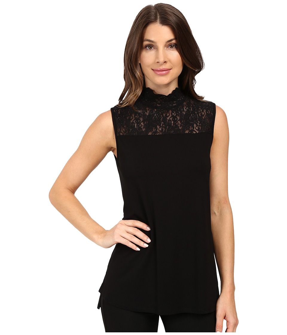 Vince Camuto - Sleeveless Top with Lace Mock Neck and Yoke (Rich Black) Women's Clothing